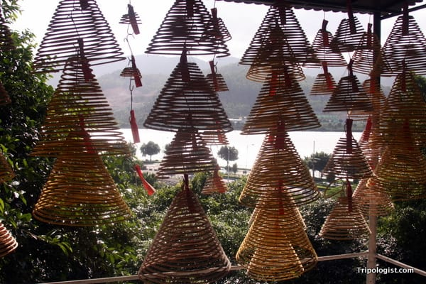 Incense coils hang in A-ma Temple, one of the top things to do in Macau.