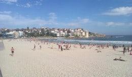 People play on Bondi Beach in Australia while taking a break from working in Australia.