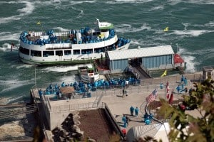 The Maid of the Mist sits at the dock near Niagara Falls in Canada.
