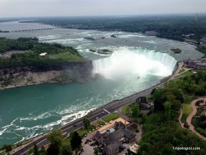 The view of Horseshoe Falls from the top of Skylon Tower. One of the best ways to see Niagara Falls.