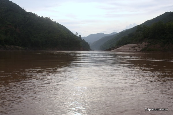 The beautiful and untouched scenery along the Mekong River in Northern Laos.