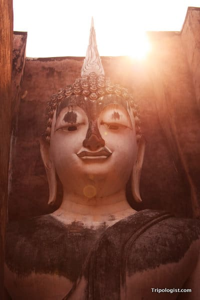 The head of an impressive 15-meter tall seated Buddha at Wat Si Chum in Sukhothai.