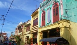 Brightly painted colonial-era house in Malacca's Chinatown.