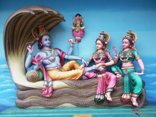 A piece of Hindu wall art from a Hindu temple near Malacca's Chinatown.