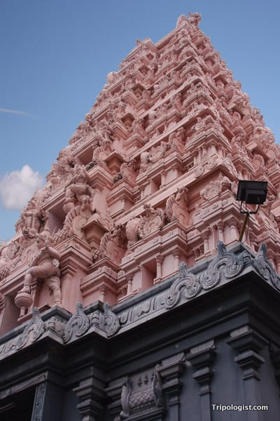 The tower of a Hindu temple near Malacca's Chinatown.