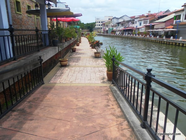 The walking path next to the beautiful Malacca River near Malacca's Chinatown.
