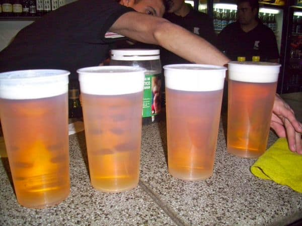 Beers at clubs can be served in a variety of sizes, this one is 40 oz.  Nightlife in Buenos Aires