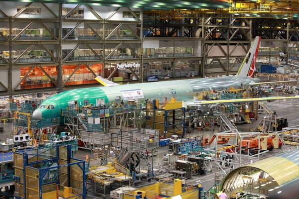 A Boeing 777 sits on the assembly line. Boeing Future of Flight Tour
