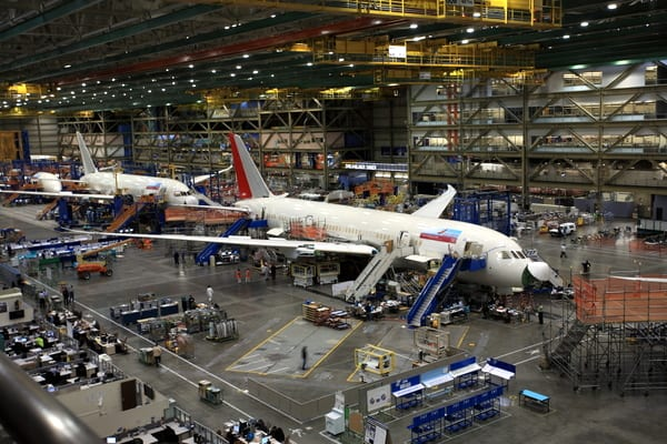 Two 787-Dreamliners being assembled on the factory floor.