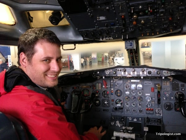 Sitting in a Boeing cockpit in the Future of Flight exhibit - Boeing Factory Tour