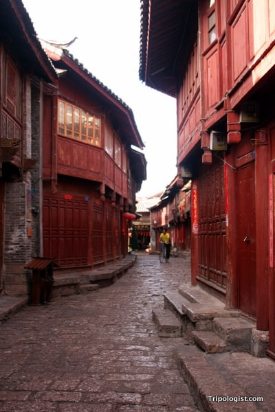 The back alleys of Lijiang, China are a peaceful place to stroll.