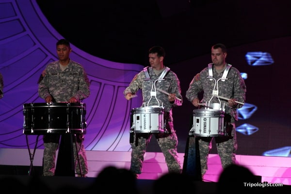 A group of US Marines performs at the 2010 Seoul Drum Festival.
