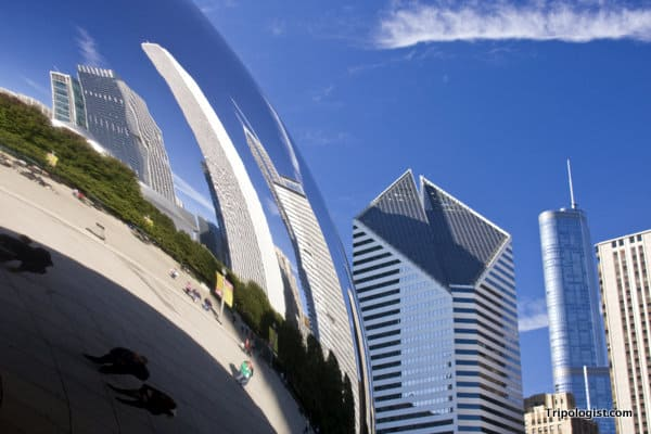 City reflections in Chicago's Bean.