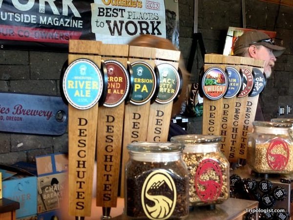 The many tasty beers available for tasting either before or after your Deschutes Brewery Tour.