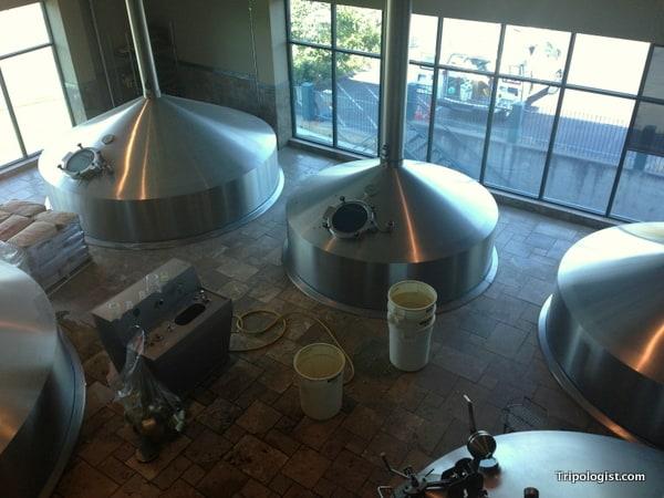 An overhead view of several of Deschutes new brewing kettles as seen on the Deschutes Brewery Tour.
