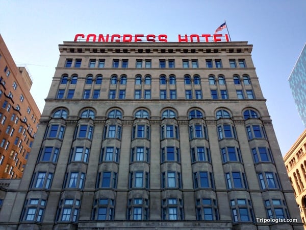 The beautiful Congress Hotel in downtown Chicago.
