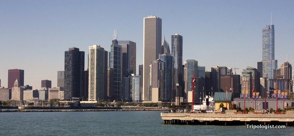 The skyline of Chicago from Navy Pier.