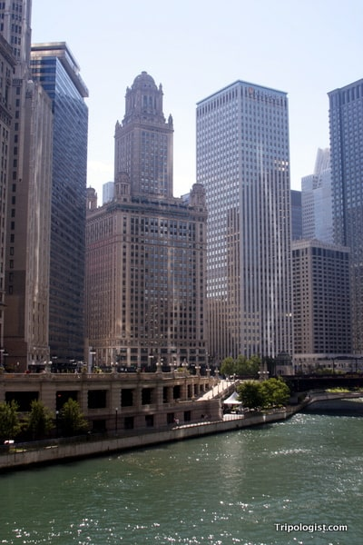 The Chicago river flanked by the architecture in Chicago.