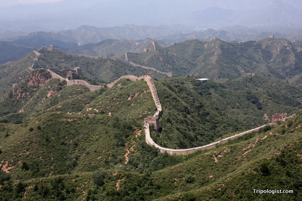 The Jinshanling Great Wall of China stretches off into the distance.