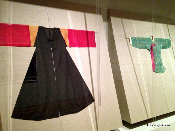 Traditional Korean clothes from the Joseon Dynasty made up part of the Treasures of Korea exhibit at the Philadelphia Art Museum.