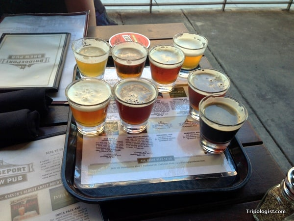 The fabulous beer sampler at the Bridgeport Brewery in Portland's Pearl District.