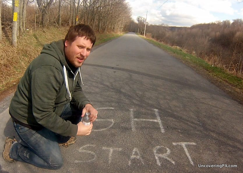 Spending time at Gravity Hill in Bedford County, Pennsylvania.