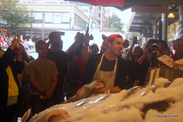 The flying fish are a popular attraction at Pike Place Fish.