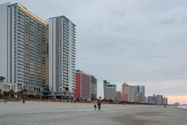 The beach in Myrtle Beach during the winter