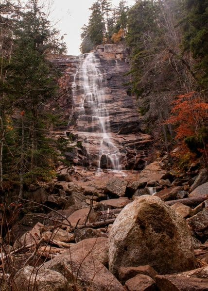 Arethusa Falls is the tallest year-round waterfall in New Hampshire.